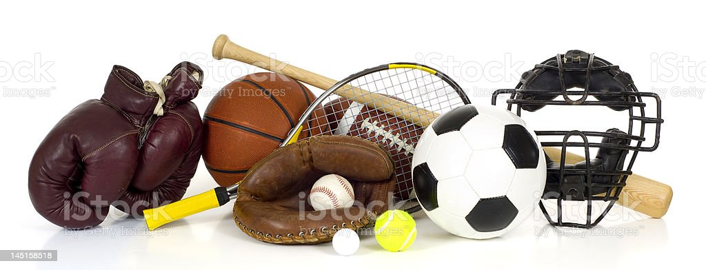 Sports Equipment on White royalty-free stock photo