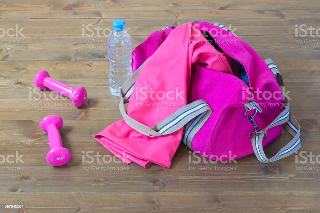 sports equipment out of the bag stock photo