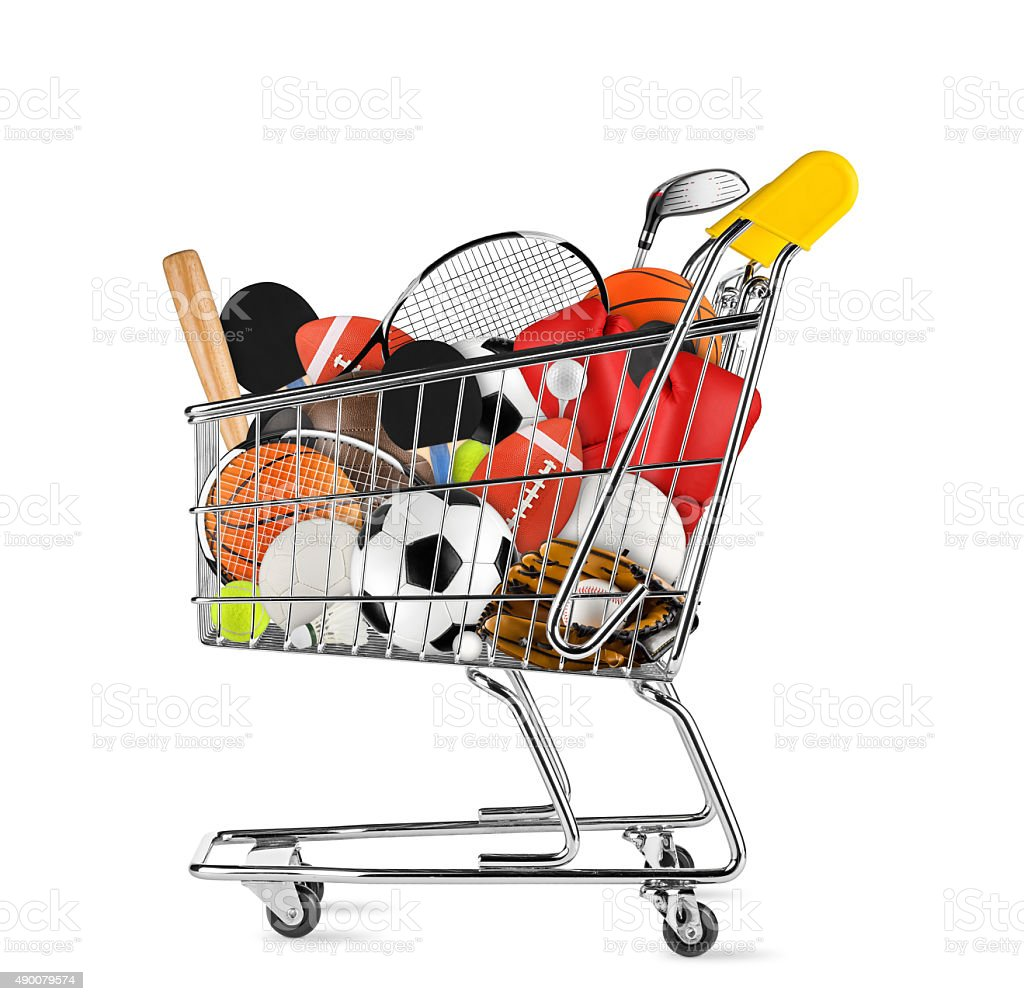 sports equipment shopping cart stock photo