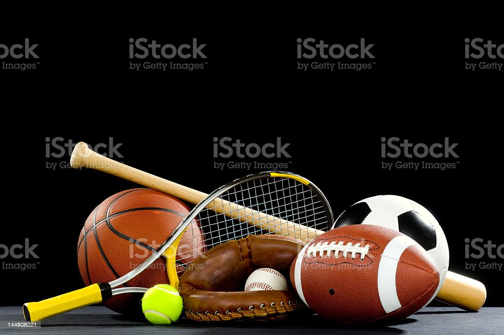 Sports equipment with rackets and balls stock photo