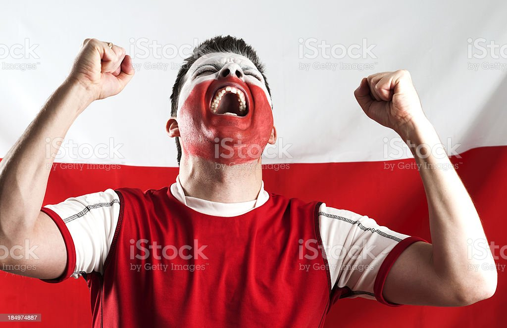 Sports fan is screaming and cheering royalty-free stock photo