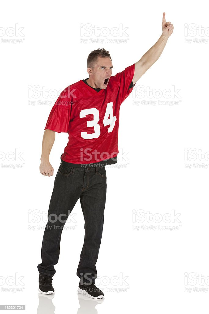 Sports fan shouting stock photo