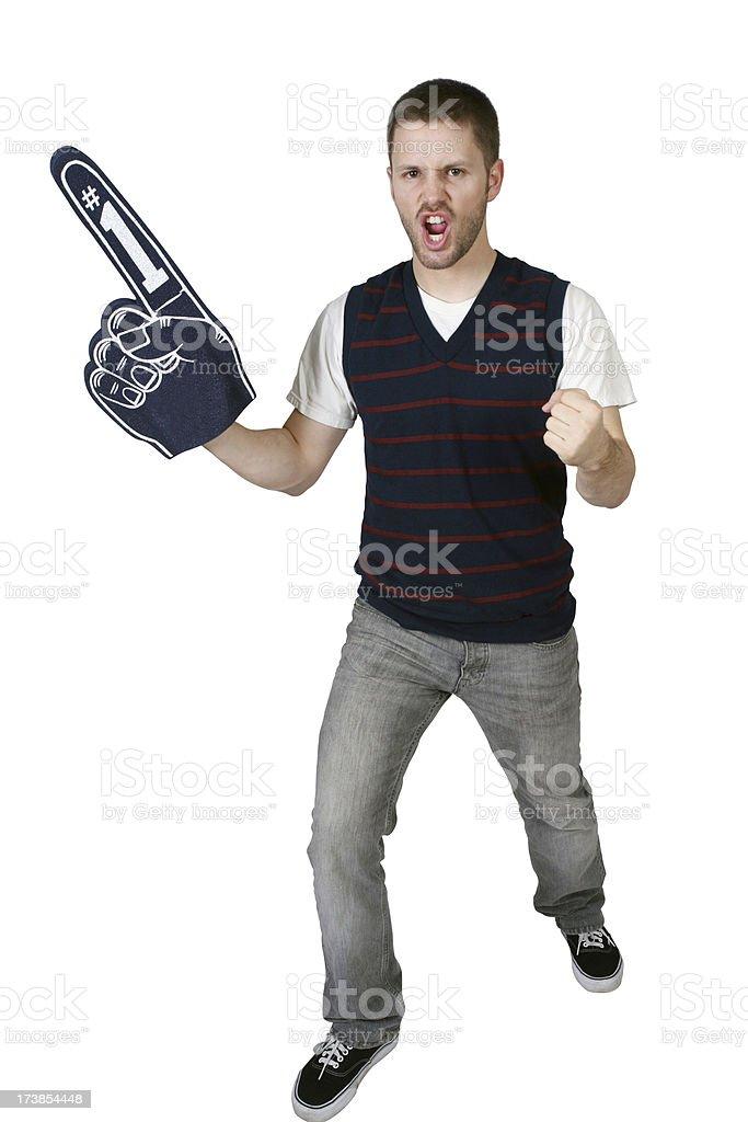 Sports fan with a foam finger royalty-free stock photo
