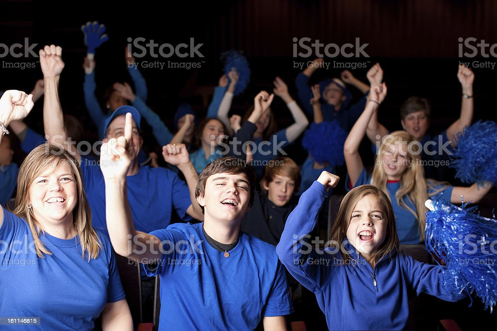 Sports Fans: Adults Children Spectators Enthusiastic Team Color Blue royalty-free stock photo