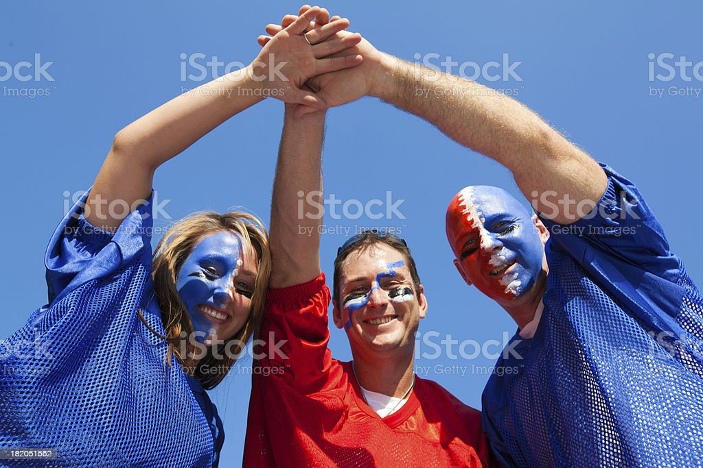 Sports fans at aTailgate party royalty-free stock photo