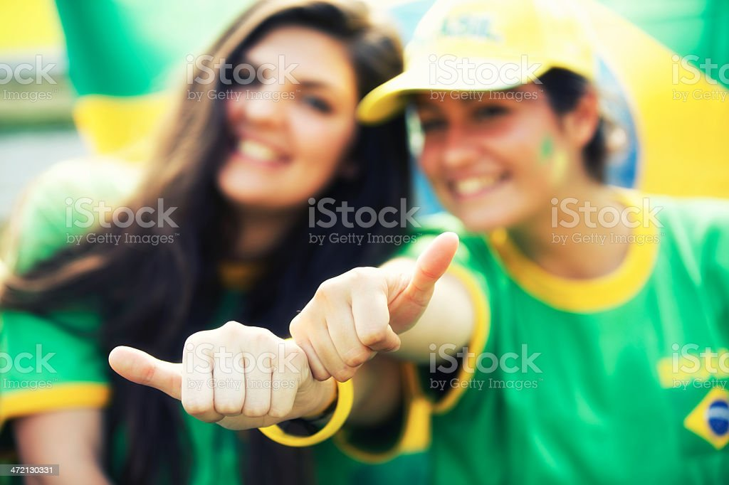 Sports fans cheering a game stock photo