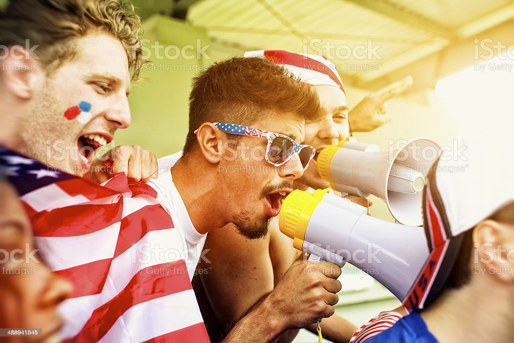 Sports fans cheering a game royalty-free stock photo
