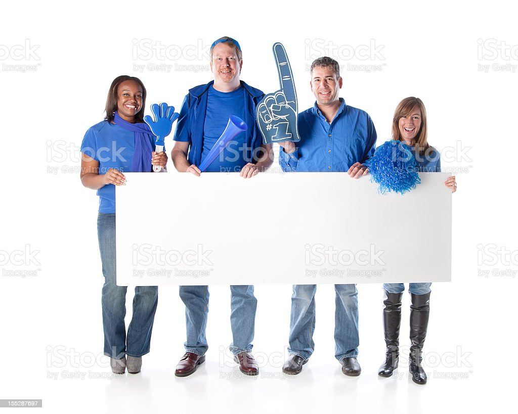 Sports Fans: Group Diverse Adults Holding Sign Blue Team royalty-free stock photo
