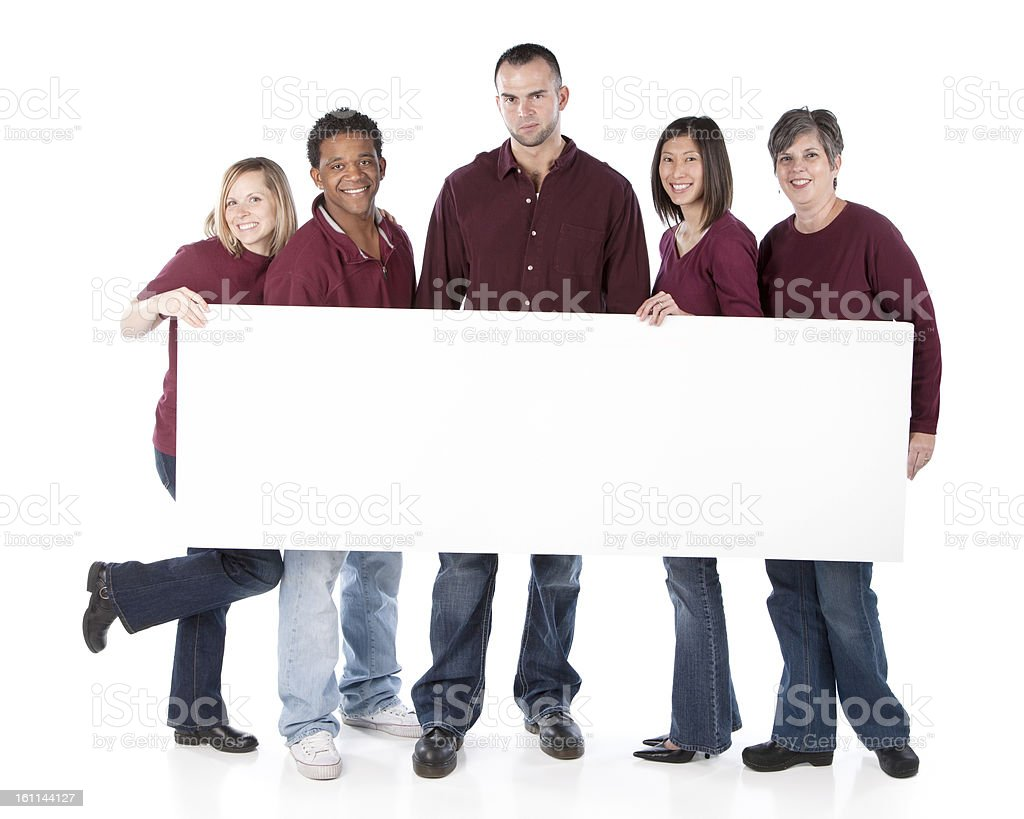 Sports Fans: Group Diverse Adults Holding Sign Team Maroon royalty-free stock photo