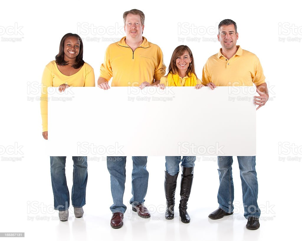 Sports Fans: Group Diverse Adults Holding Sign Team Yellow royalty-free stock photo