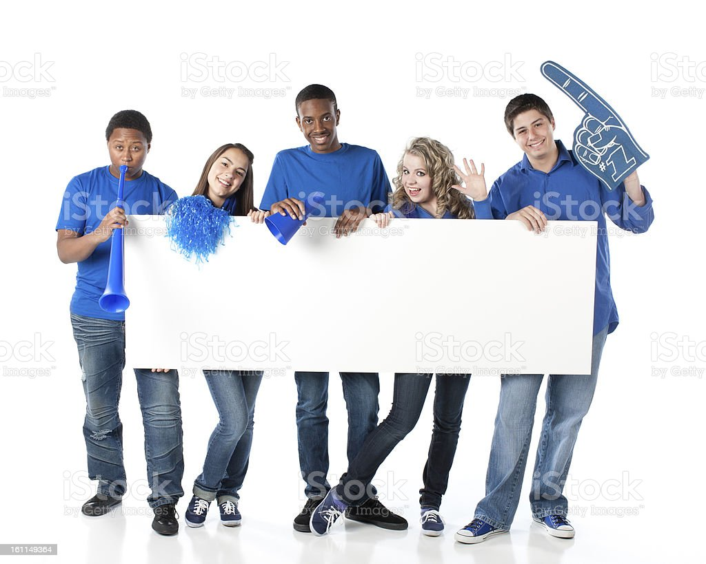 Sports Fans: Group Teenagers Cheering Team Blue Blank White Sign stock photo