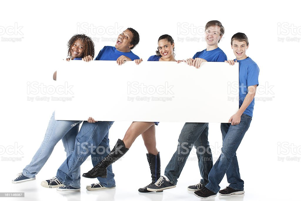 Sports Fans: Group Teenagers Team Blue Blank White Sign Kicking royalty-free stock photo