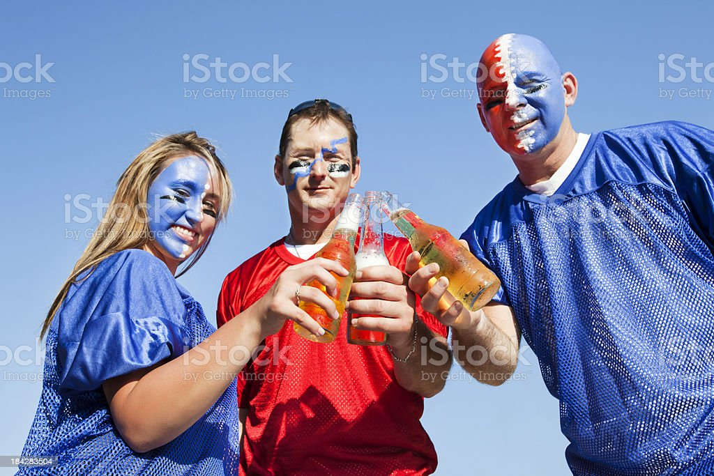 Sports Fans Tailgate party beer toast stock photo