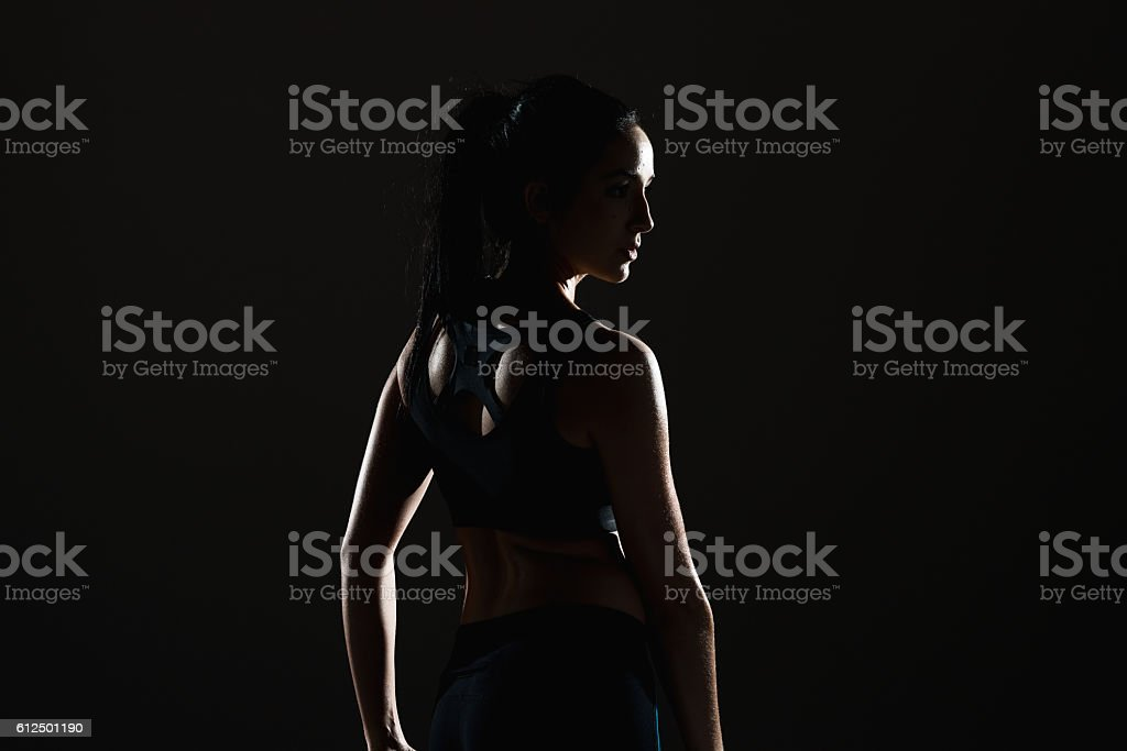 Sports female looking away stock photo