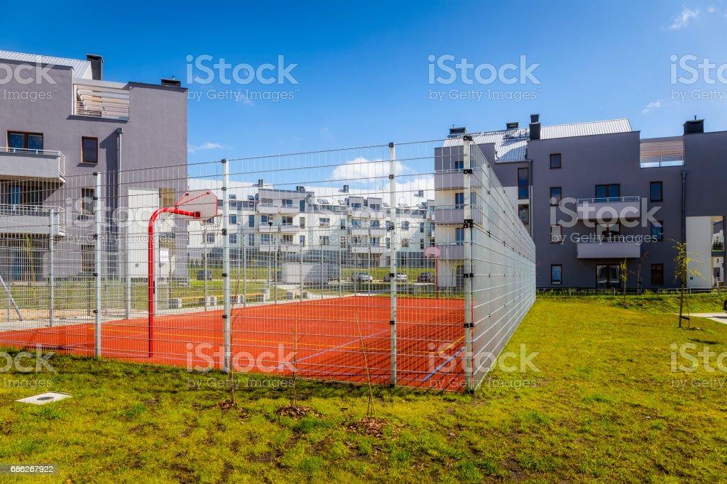 Sports field on on a modern housing estate stock photo