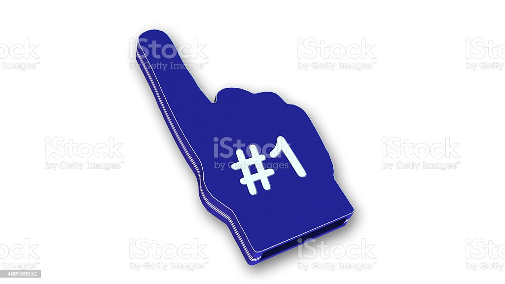 Sports Foam Hand with number one sign stock photo