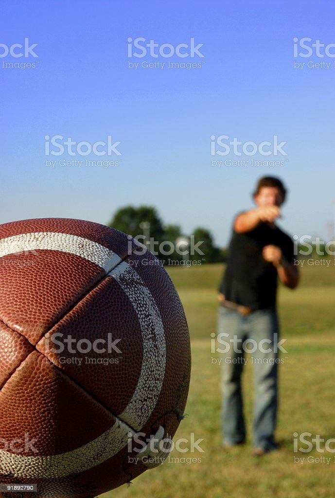 sports football quarterback pass stock photo