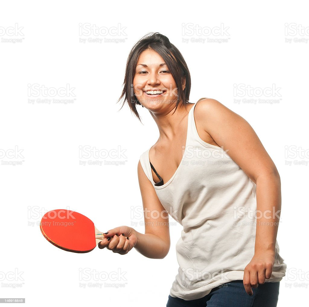 Sports girl plays table tennis royalty-free stock photo