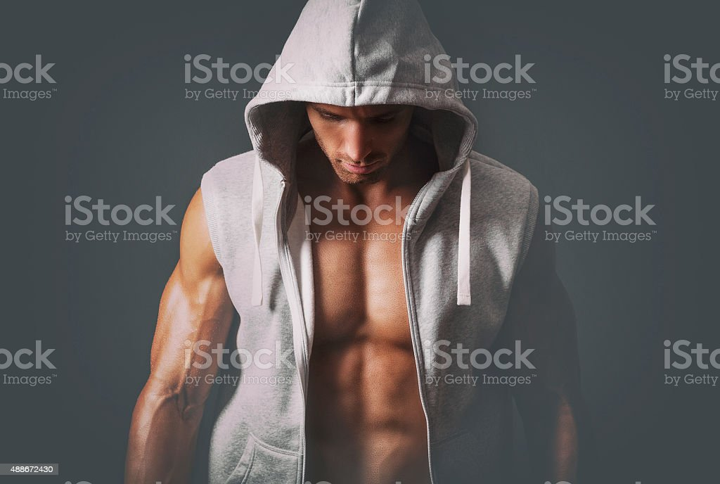 Sports guy in a tracksuit stock photo