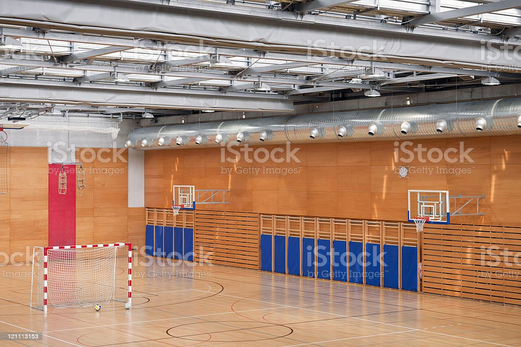 Sports Hall with Soccer Goal royalty-free stock photo