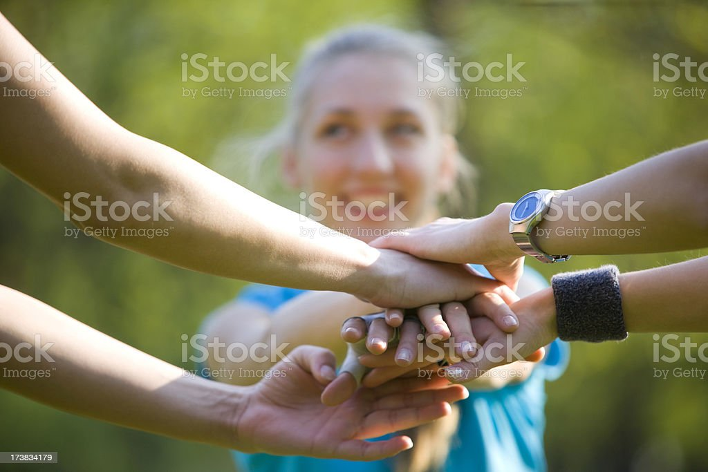 Sports huddle royalty-free stock photo