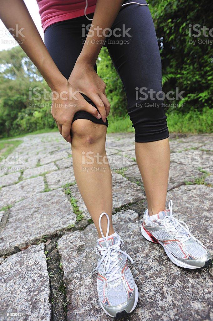 sports injured knee stock photo
