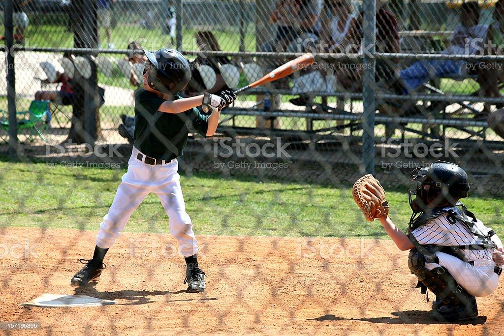 Sports: Little league baseball player at bat. stock photo