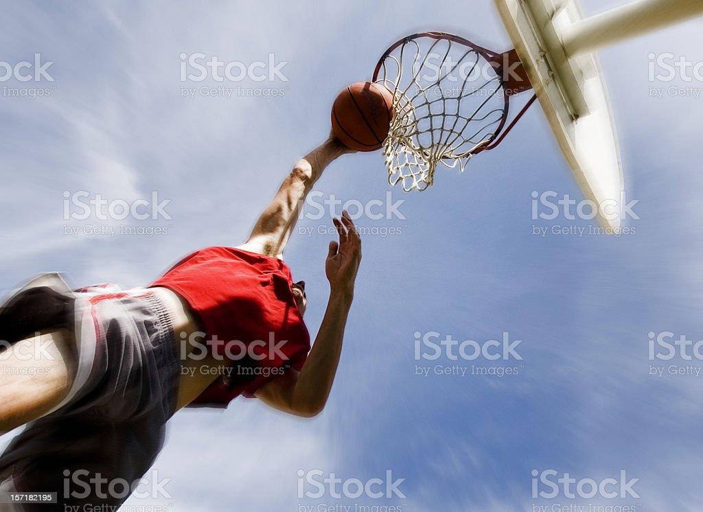Sports: Man Playing Basketball: Slam Dunk stock photo