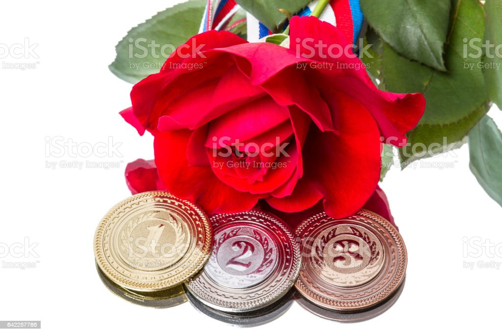 Sports Medal and the Rose stock photo