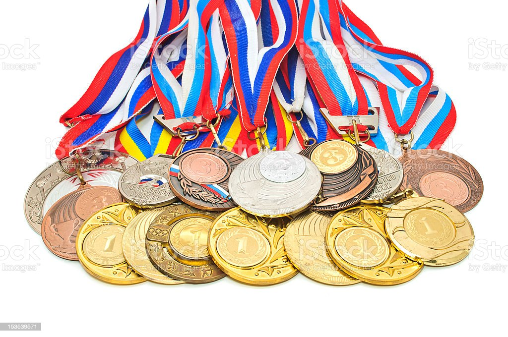 Sports Medal of the Russian Federation. Isolated on white backgr royalty-free stock photo