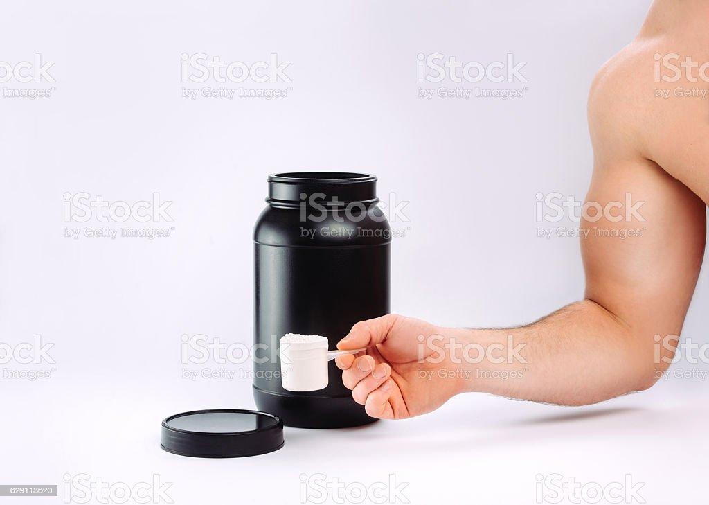 sports nutrition. protein stock photo