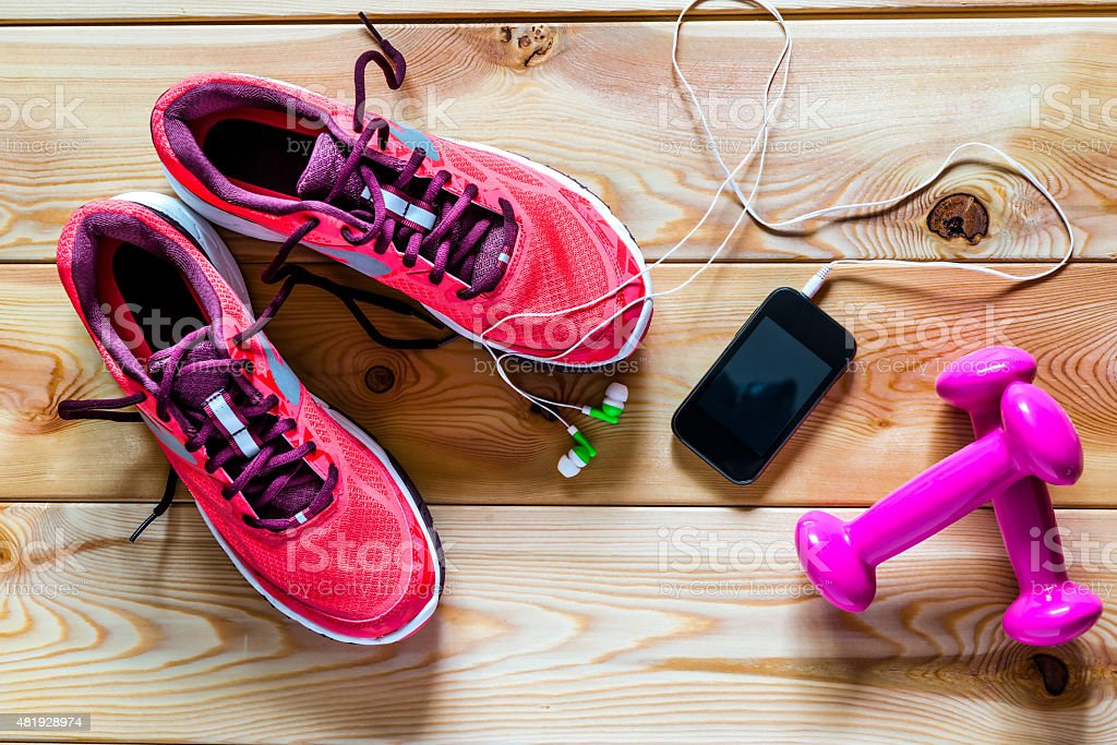 sports objects. photography on wooden boards stock photo