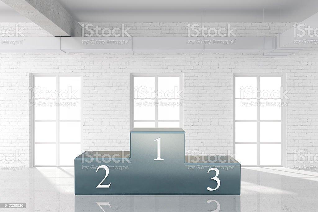 Sports pedestal in interior stock photo