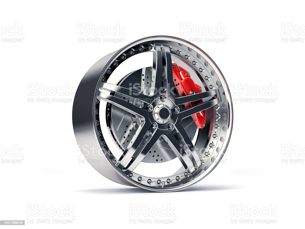 Sports Rim with ventilated and perforated brake discs and red caliper stock photo