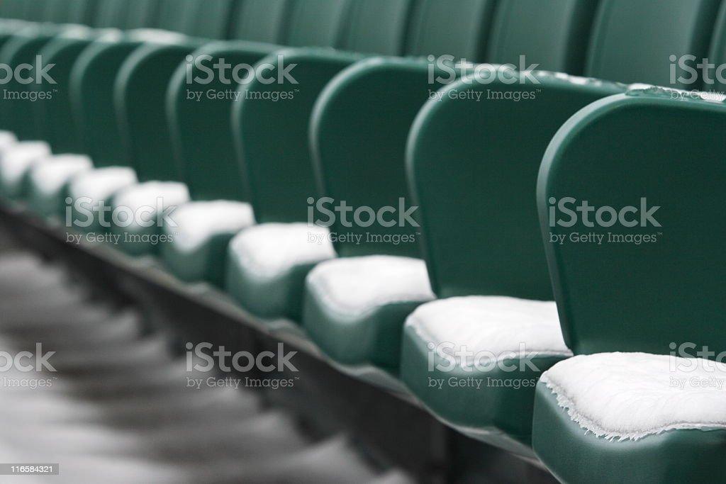 Sports Stadium Bleacher Seat Snow stock photo
