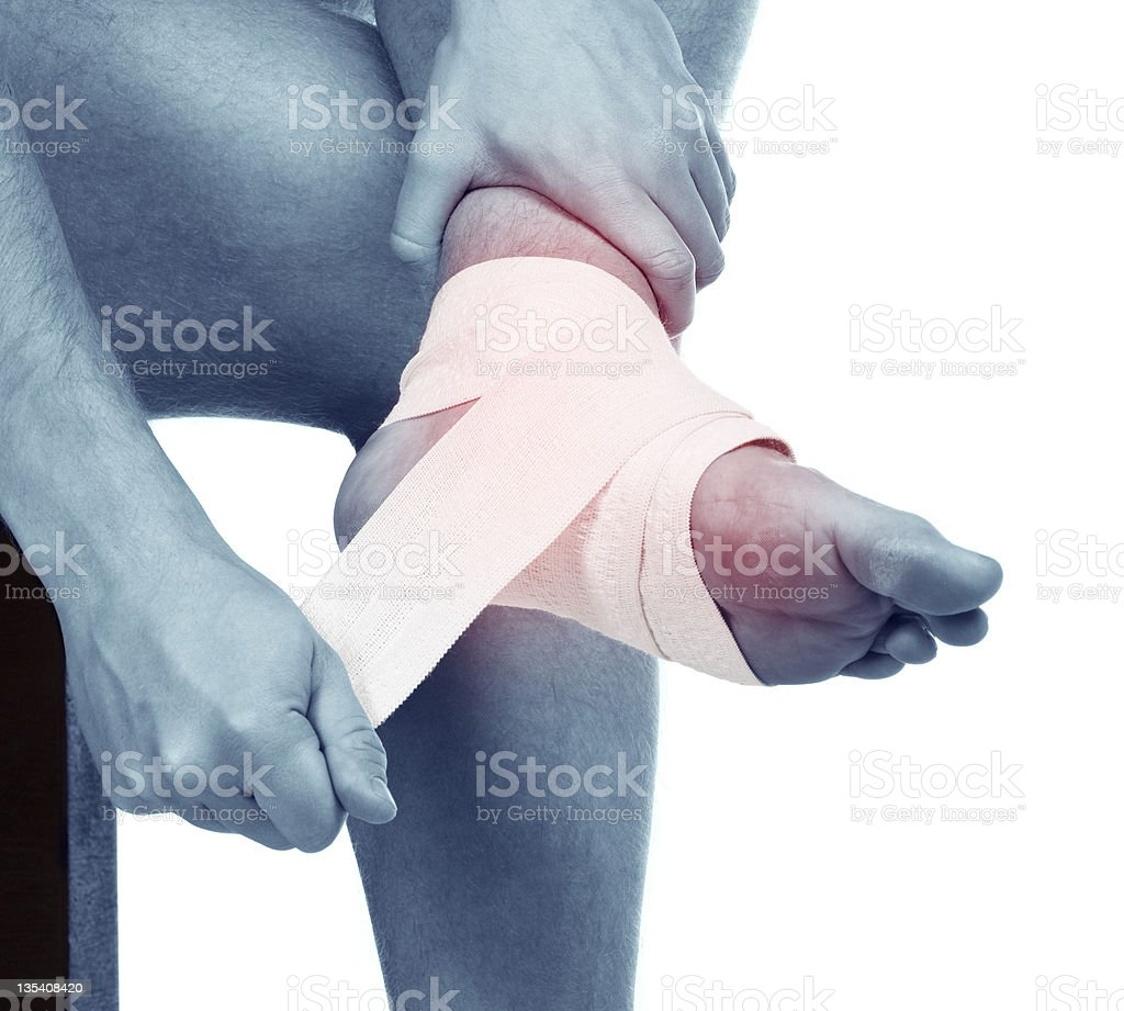 Sports trauma of a foot. Sprained anklebone royalty-free stock photo