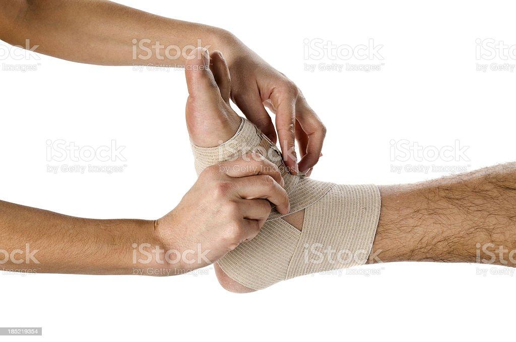 Sports trauma of a man foot royalty-free stock photo