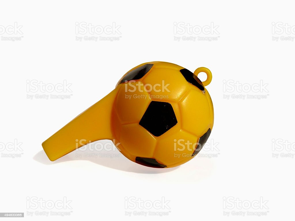 Sports Whistle, Soccer Field, Concept stock photo