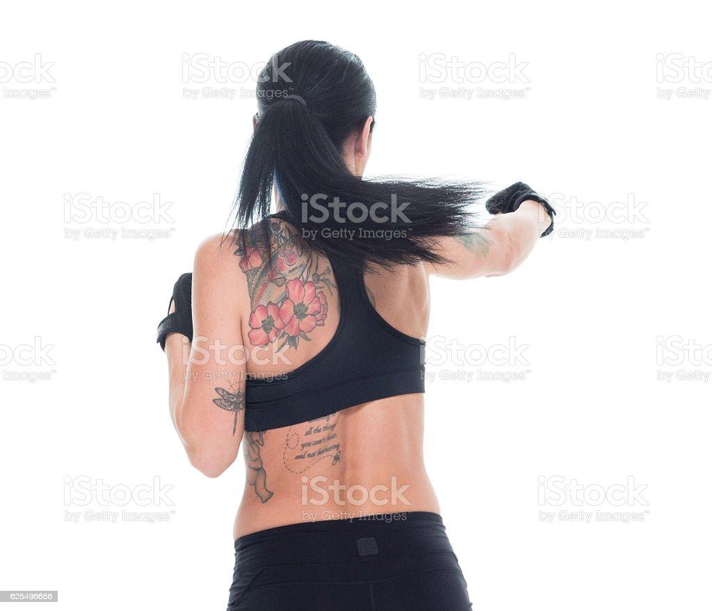 Sports woman fighting stock photo