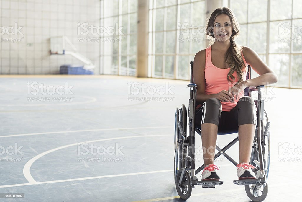 Sports woman in a wheelchair stock photo