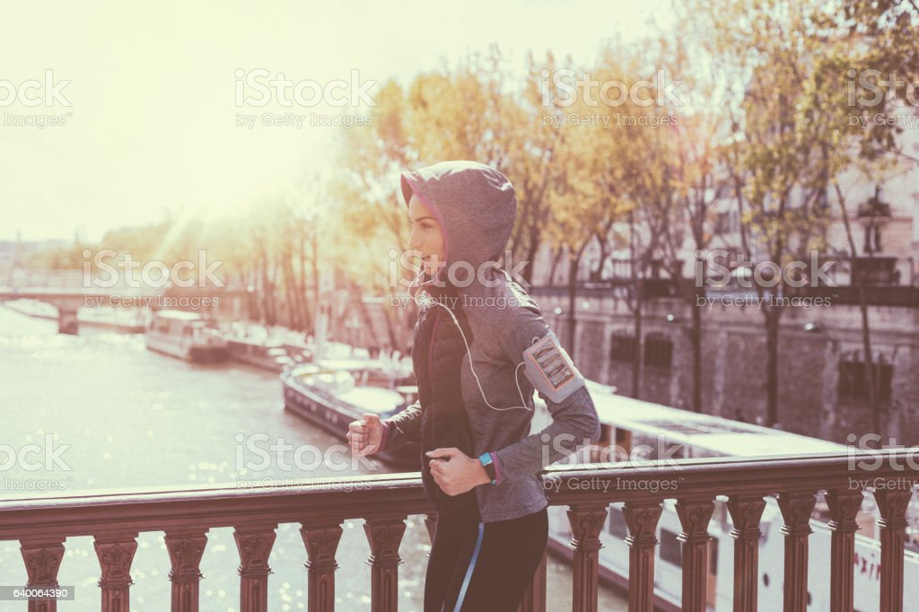 Sports woman jogging stock photo
