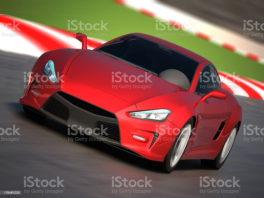 Sportscar driving in racetrack royalty-free stock photo