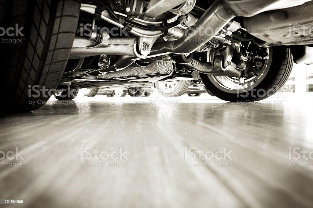 Sportscar technik from below stock photo