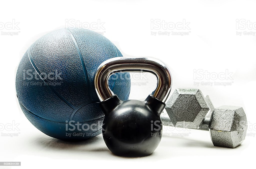 Sports-Kettlebell-medicine ball-dumbbells stock photo