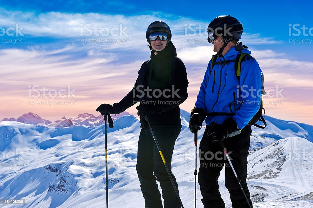 Sportsman at winter landscape royalty-free stock photo