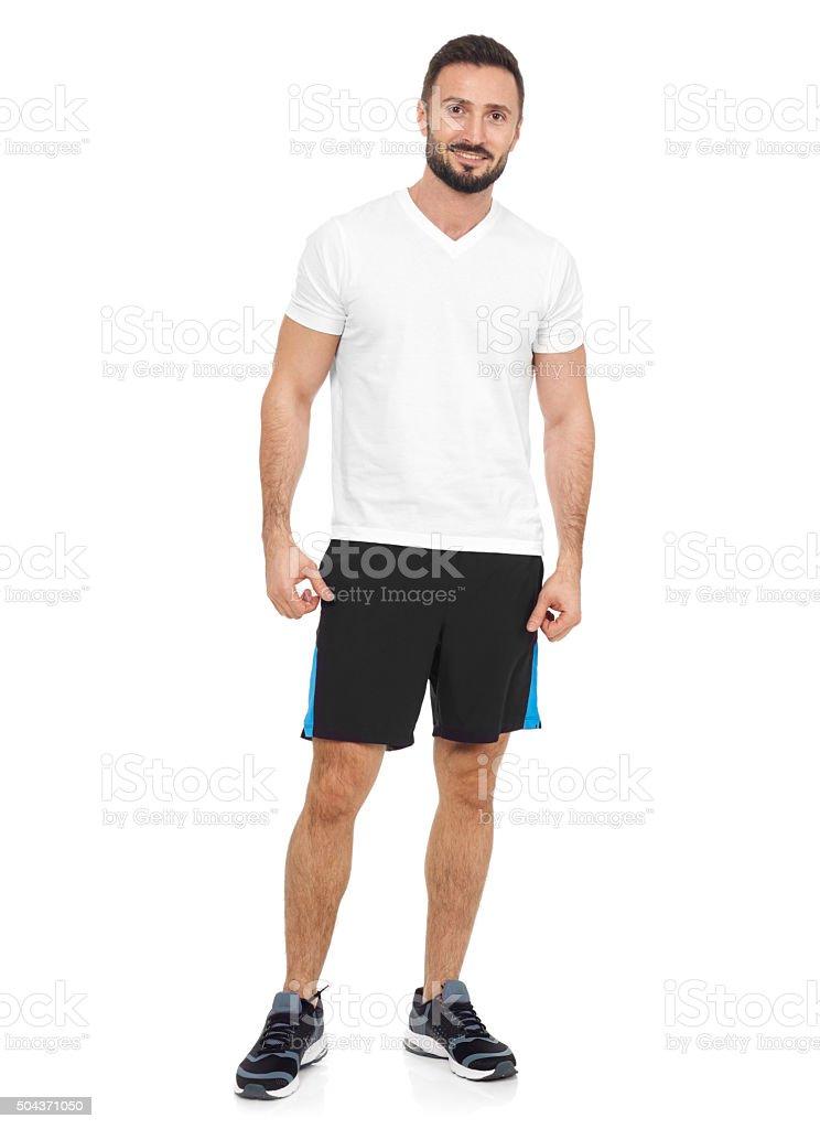 Sportsman looking at camera stock photo