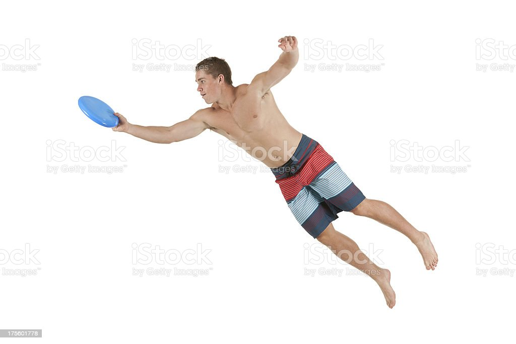Sportsman playing with a frisbee royalty-free stock photo