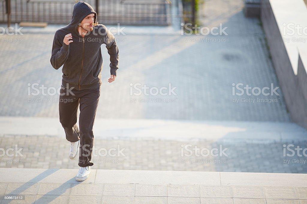 Sportsman running stock photo