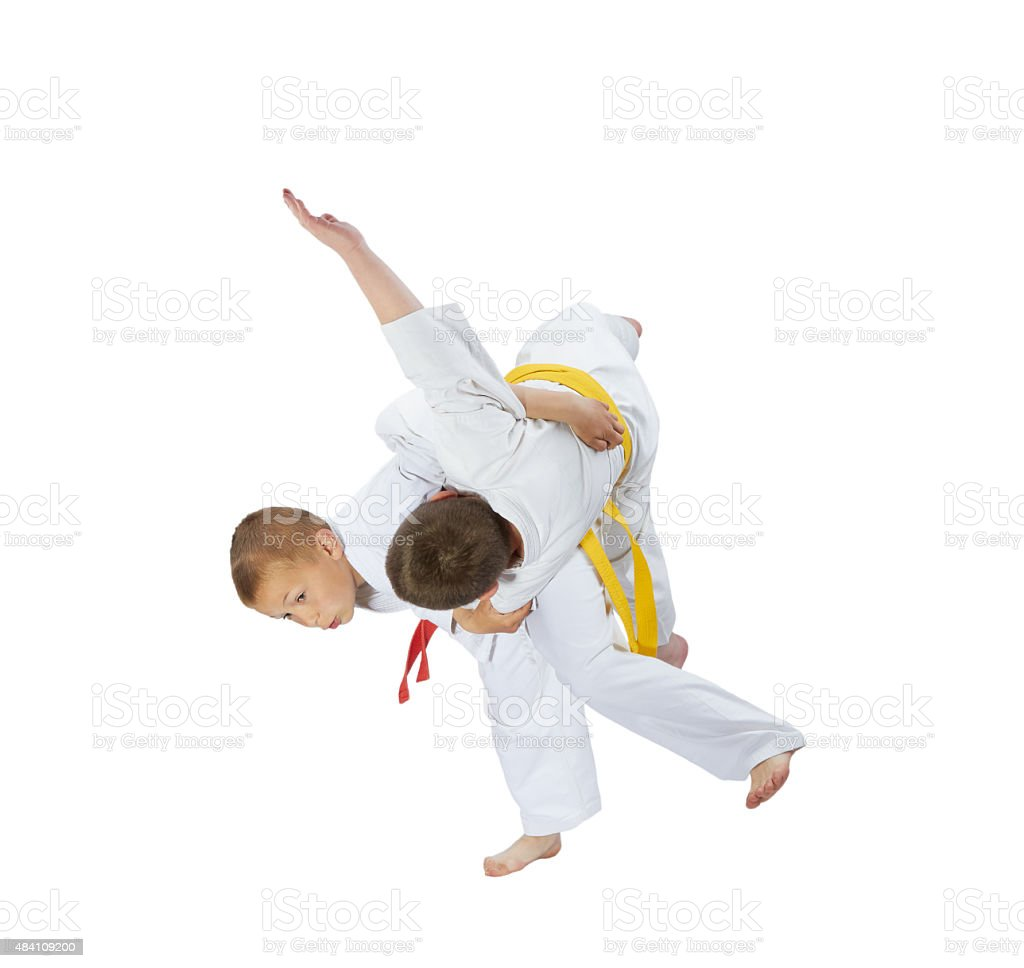 Sportsmens are doing a high throws judo stock photo
