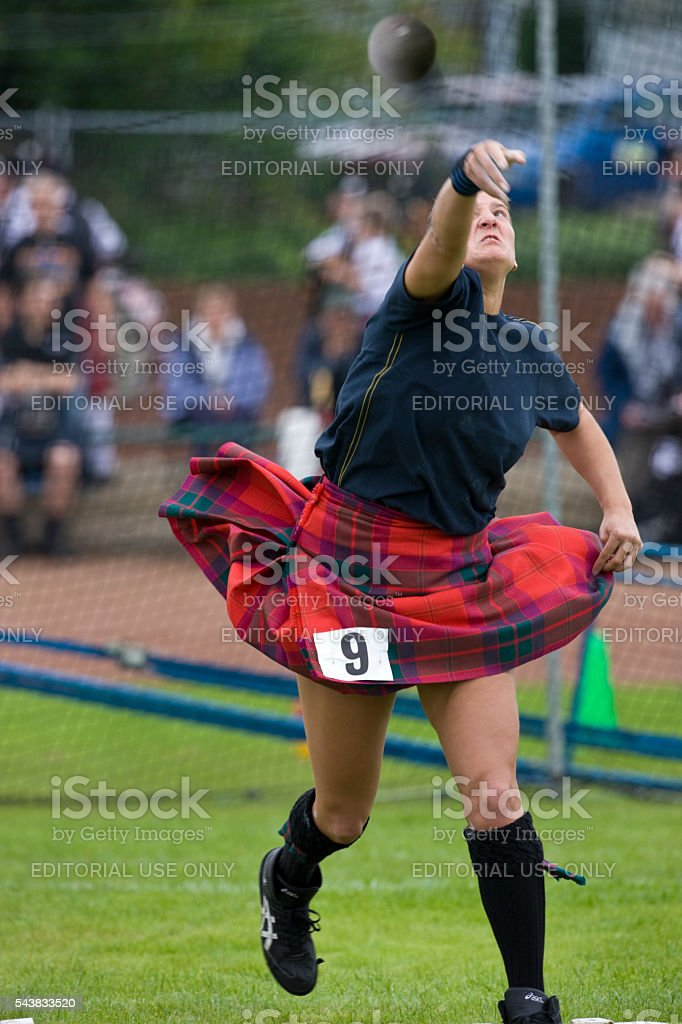 Sportswoman at the Highland Games - Dunoon - Scotland stock photo